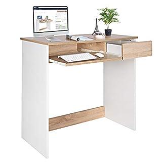 Bureau d'ordinateur Writing Bureau en Bois avec tiroirs et tiroir à Clavier, Table PC pour Adultes et Enfants, 80 x 45 x 75 cm, hêtre et Blanc