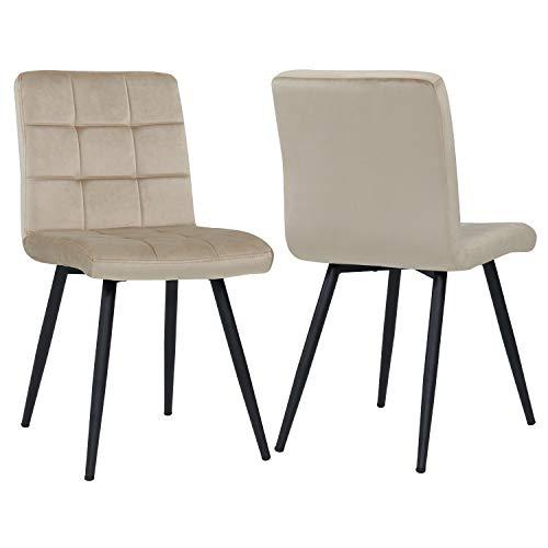Duhome 2er Set Esszimmerstuhl aus Stoff Samt Creme Beige Farbauswahl Stuhl Retro Design Polsterstuhl mit Rückenlehne Metallbeine 8043B