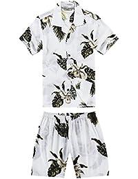 Chico Camisa Hawaiana o Conjunto de cabaña en Verde Palma en Blanco