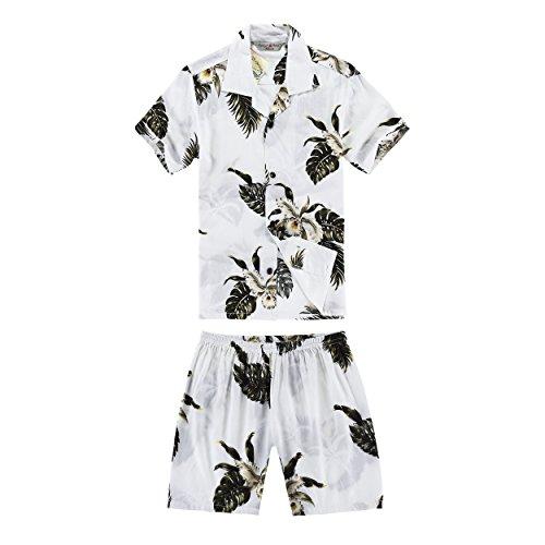 Chico-Camisa-hawaiana-y-pantalones-cortos-Cabana-Set-en-verde-palma-en-blanco-Tamao-8