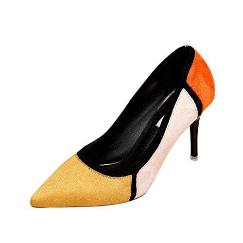 cinnamou Frühling der Frauen beiläufige Spitzschuh-einzelne Schuhe Flock Patchwork-hochhackige Schuhe High Heels Damenschuhe Übergröße Pumps für Hochzeit Party (Knie Boot Stiletto Spitz)