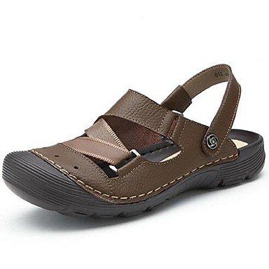 Uomini sandali estivi Casual in pelle tacco piatto altri marrone Beige cachi altri Brown