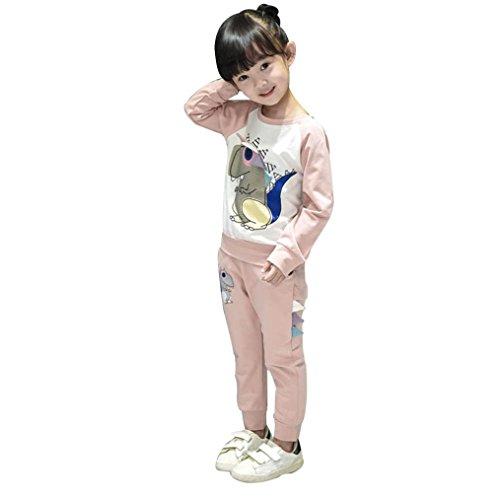 Bekleidung Longra Kinder Baby Mädchen Junge Dinosaurier Outfits Kleidung mit Langarm Sweatshirts T-Shirt Tops + Lang Hosen 1Set Kinderkleidung (3-7Jahre) (110CM 5Jahre, (Kostüme Dinosaurier 4t)