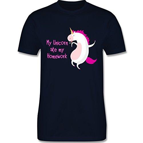 Comic Shirts - My unicorn ate my homework - Herren Premium T-Shirt Navy Blau