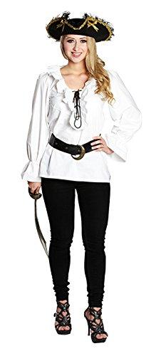 NEU Damen-Bluse Piratin mit Rüschen, weiß, Gr. 38