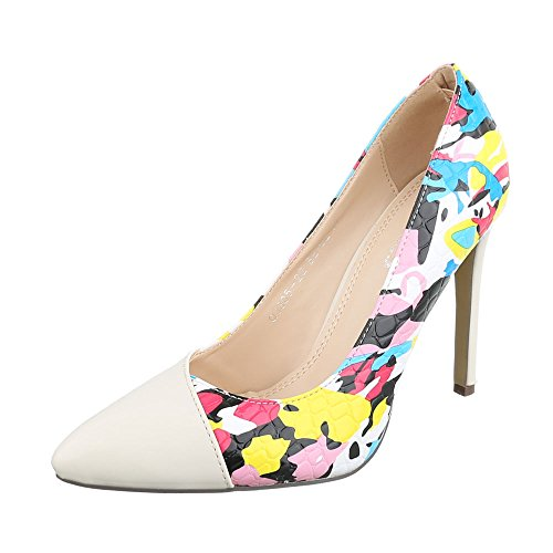 High Heel Damenschuhe Plateau Pfennig-/Stilettoabsatz High Heels Ital-Design Pumps Beige Multi QJ305-22