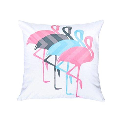Tinksky Housse d'oreiller Flamingo Throw, Housse de coussin carrée Housse d'oreiller pour le canapé extérieur Salon de la voiture Salle des enfants Cuisine Moquette 3