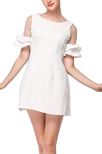 Frauen Rüsche Ärmel A-Linie Fit und Flare-Skater-Kleid White