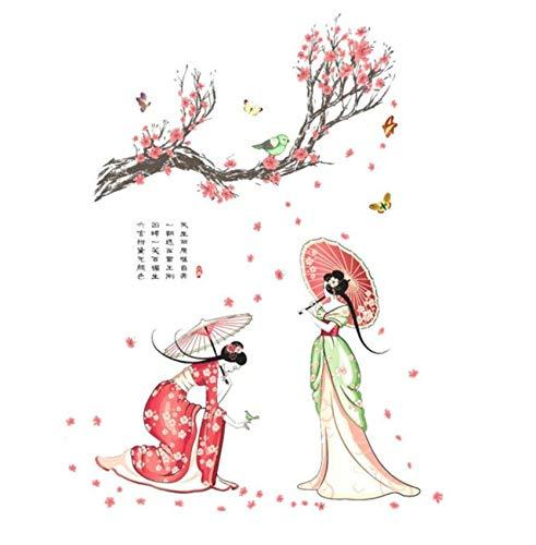 Qqasd China Stil Wandaufkleber Antike Schöne Mädchen Wandtattoo Familie Heimat Gedicht Kunst Wohnkultur 60X90 Cm