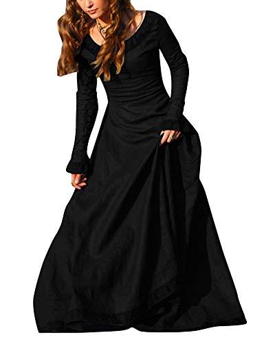 Mittelalter Kleidung Damen Langarm Kleid Maxikleid Retro Rundhalskleider Halloween Kostüm Gotisch Kleider Schwarz 3XL (Einfach Schwarzen Halloween-kostüme Kleid)