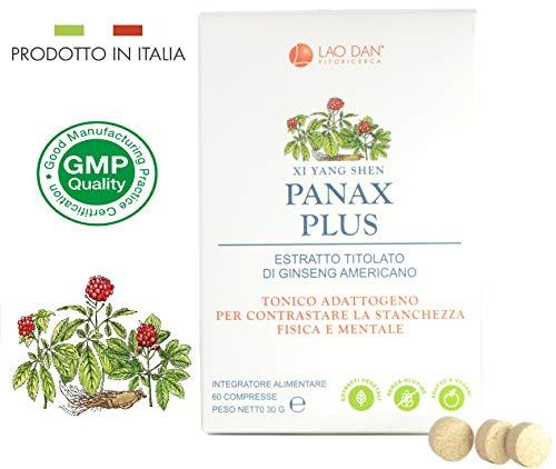 panax plus | panax quinquefolius - ginseng americano | con estratto titolato al 10% in ginsenosidi | tonico contro stanchezza fisica e mentale | prodotto in italia