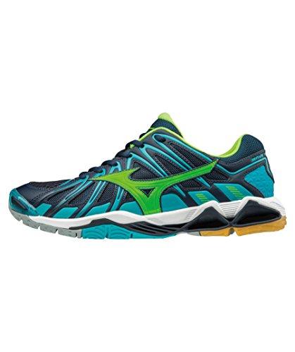 Mizuno Wave Tornado X2, Chaussures de Volleyball Homme bleu turquoise/vert gecko/bleu marine