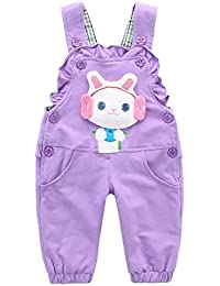Peto Pantalones Para Bebé Niñas Largo Lindo Algodón Con Conejo 6-36 meses Pantalones Overall