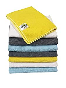 SOFTSPUN Microfiber Cleaning Cloths, 10 pcs 30x35cms 280GSM Multi-Color. Highly Absorbent, Lint and Streak Free, Multi - Purpose Wash Cloth for Kitchen, Car, Window, Stainless Steel, Silverware.