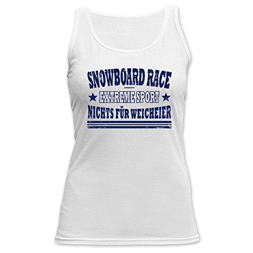 Cooles Damen Top für den Winter - Wintersport - Tank Top für Skihasen : Snowboard Race Extreme -- Goodman Design Weiß