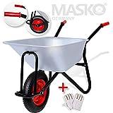 Masko Schubkarre 100 Liter 250kg ✓ Bau Transportwagen ✓ Garten ✓ Luftrad ✓ Gartenkarre |belastbar bis 250kg Stabile Ausführung | Eckig