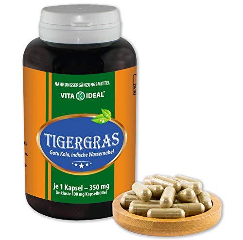 350 Mg 180 Kapseln (VITA IDEAL ® Tigergras (Gotu Kola, Indische Wassernabel, centella asiatica) 180 Kapseln je 350mg, aus rein natürlichen Kräutern, ohne Zusatzstoffe)