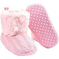 BESTOYARD Botas Antideslizantes de Suela Blanda para bebés Calzado de Cuna de Punto de Invierno Botas de bebés para niños pequeños Prewalker para bebés de 12 a 18 Meses (Rosa)