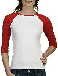 Bella - T-Shirt Femme Manche 3/4 Contraste 7 Couleur - M - EU 40, Blanc/Rouge