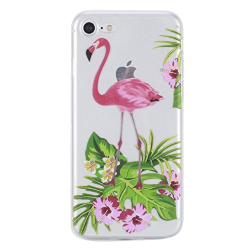 Price comparison product image iPhone 7 Gel Case 4.7 Inch,iPhone 6s Clear Case with Design, Vioela Tropical Flamingos and Flowers Colorful Pattern Perfect Fits Flexible Soft Transparent TPU Rubber Bumper Crystal Skin Shell Protective Back Case Cover for Apple iPhone 7 4.7 Inch with Free Stylus