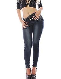 FARINA 1326 Denim Pantalones, Jeans, vaqueros de mujer, Push up/Levanta cola, pantalones vaqueros elasticos colombian,color azul,talla 34-48/XS-3XL