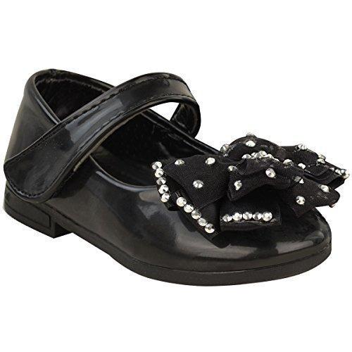 Bébé Enfants Fille Plate Chaussures Arc Nourrissons Bande Scratch Baptême Doux Fête Taille