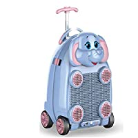4 Wheeled Children Kids Holiday Travel Hard Shell Suitcase Luggage Trolley Wheel Animal Bag Case with Blocks Storage Toy Box School Bags