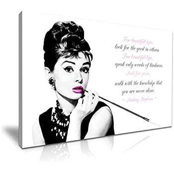 Superbe Audrey Hepburn Quote For Beautiful Eyes Canvas Wall Art Picture Print  76cmx50cm