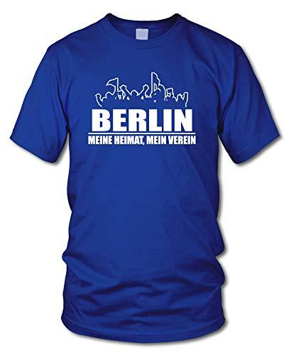 shirtloge - Berlin - Fanblock - Meine Heimat, Mein Verein - Fussball Fan T-Shirt - Royalblau - Größe L