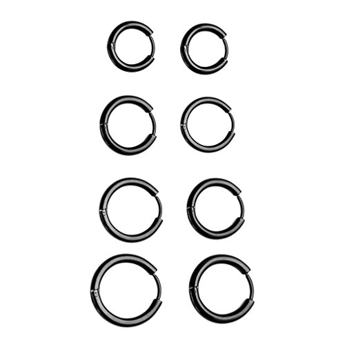 CanVivi 4pcs Ohrstecker Damen Herren 8-14mm Ohrschmuck Ohrring Ohrpiercing Schwarz (Endless Hoop Ohrringe 14mm)