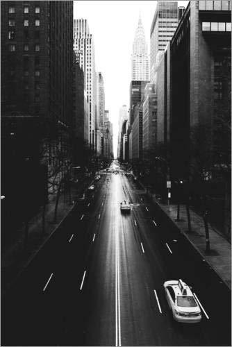 Posterlounge Acrylglasbild 60 x 90 cm: Die Straßen New Yorks - 42nd Street (monochrom) von Sascha Kilmer - Wandbild, Acryl Glasbild, Druck auf Acryl Glas Bild