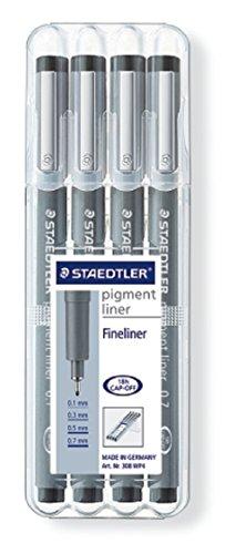 Staedtler 308 WP4 pigment liner schwarz, 4 Stück in aufstellbarer Staedtler-Box