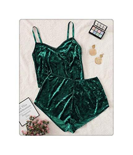 US Fashion Women 2pcs Velvet Sleepwear Sexy Spaghetti Strap Velvet Shorts Pajama Set Ladies Sleepwear Female Pajama Party Set Green L