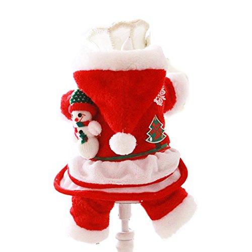 FLAdorepet Weihnachten Hund Katze Haustier Santa Kostüm Kleidung Outfits Cute Winter Warm Fleece Dog Hundemantel Jacke Hund Hoodie Jumpsuit Kleidung, XL=16, Rot