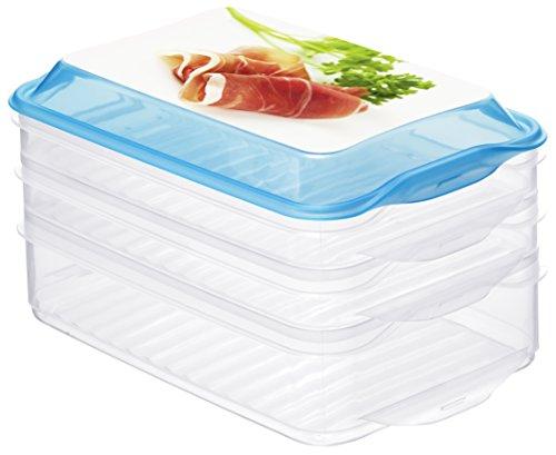 Rotho Stapelbox Foodcenter AIR, 3-teilige Aufbewahrungsbox aus Kunststoff in transparent/ blau, BPA-frei, Inhalt 1x 1,3 Liter, 2x 0,75 Liter, 23,2 x 15,5 x 12,5 cm