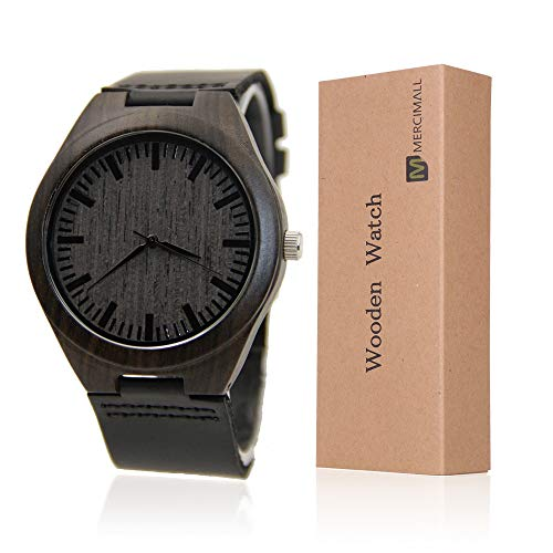 Mercimall BAB-B04 unisex Natural Black Watch in legno in pelle orologio unico Textures