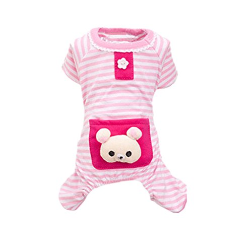 Rosa Mantel Stil Pyjama (Haustier Hund Katze Welpen Weichen Gestreiften Pyjama Mantel Kleidung - Rosa , S)