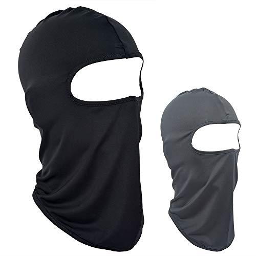 VIVOTE Lycra Sturmhaube 2 Pack Helm Liner Gesichtsmaske Reiten Headwear für Laufen Wandern Sport Outdoor Motorrad Radfahren Leichte UV-Schutz, Schwarz und Grau