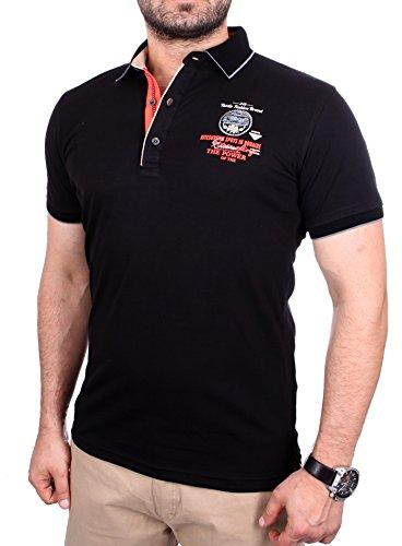 Reslad Polo-Shirt Herren Poloshirt Kontrast Polo-Kragen Kurzarm-Shirt RS-5204 Schwarz XL (Kontrast Kragen-kurzarm-polo-shirt)