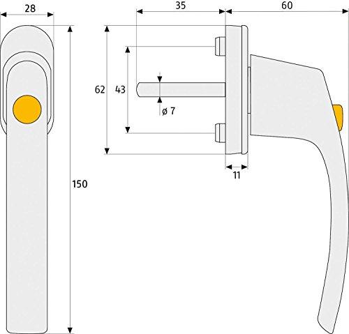 ABUS Fenstergriff FG50 verriegelbar mit Druckknopf  kein Schlüssel notwendig  Kindersicherung  5er-Set  weiß  79050