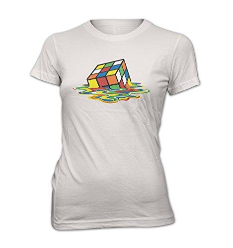 "Fun Damen T-Shirt The Big Bang THEORY ""Rubik Würfel"" -Sheldon- Funny-Tee-Hemd S bis XXL Weiß"
