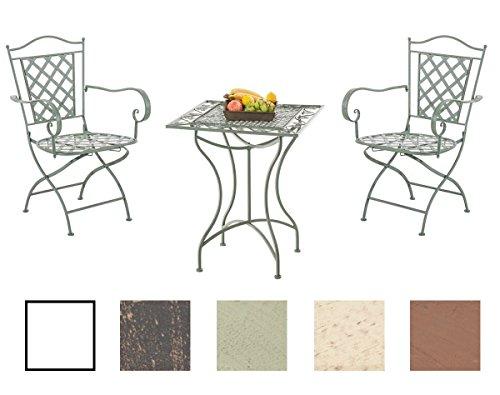 clp set mobili da giardino payo - salotto esterno in ferro laccato design nostalgico - tavolino quadrato 60x60cm + 2x sedie richiudibili con braccioli verde antico