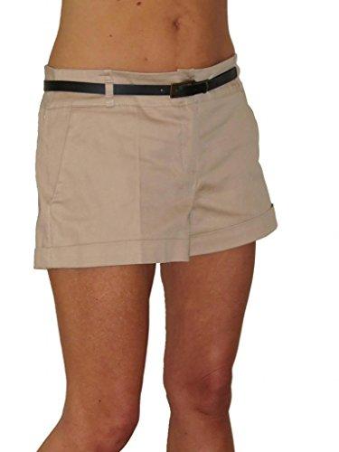 ICE (1219) Baumwollsatin Hosen Shorts mit Gürtel Beige