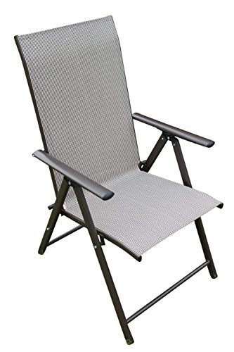 ENSEMBLE DE 2 chaises de terrasse de jardin inclinables à 7 positions en textilène résistant aux intempéries