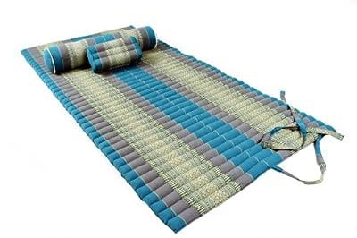 Thaimatten Set (Yogaset II): rollbare Thaimatte 200x100 + Kissen 35x15x10 + Rolle 80x20 (Thaimuster blau)