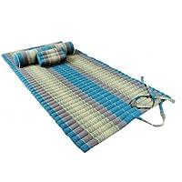 Preisvergleich für Thaimatten Set (Yogaset II): rollbare Thaimatte 200x100 + Kissen 35x15x10 + Rolle 80x20 (Thaimuster blau)