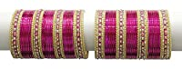 Girl's Style Traditional Charming Hot Pink Bangles Partywear Indian Jewelry (2.6)