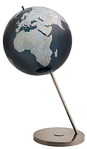 346008 Columbus BLACK SERIES: Black Series Sonderkartenbild, politisch, OID-Code, Durchmesser 60 cm, handkaschiert auf Acrylglaskugel, Edelstahlstrebe, Meer dunkelblau, Beschriftung silber