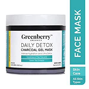 Greenberry Organics Daily Detox Charcoal Gel Mask with Tea Tree and Green Tea Extracts, 100gms