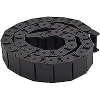 """Cadena de arrastre de cable - SODIAL(R)18mm x 37mm Negro Flexible Cadena de arrastre de cable semicerrada 1M 39.4"""""""
